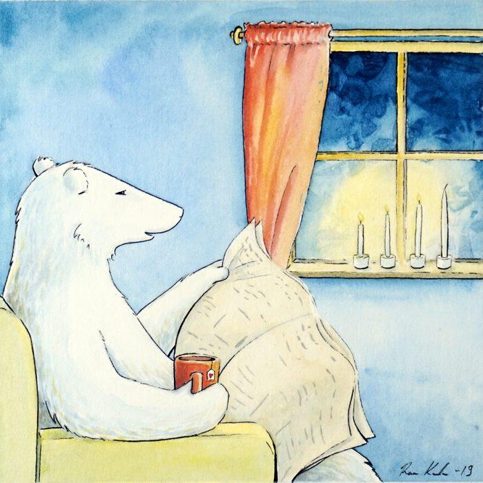 Jääkarhu Jan lukee lehteä