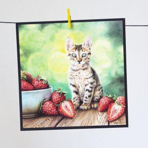 Mansikkakissa-postikortti
